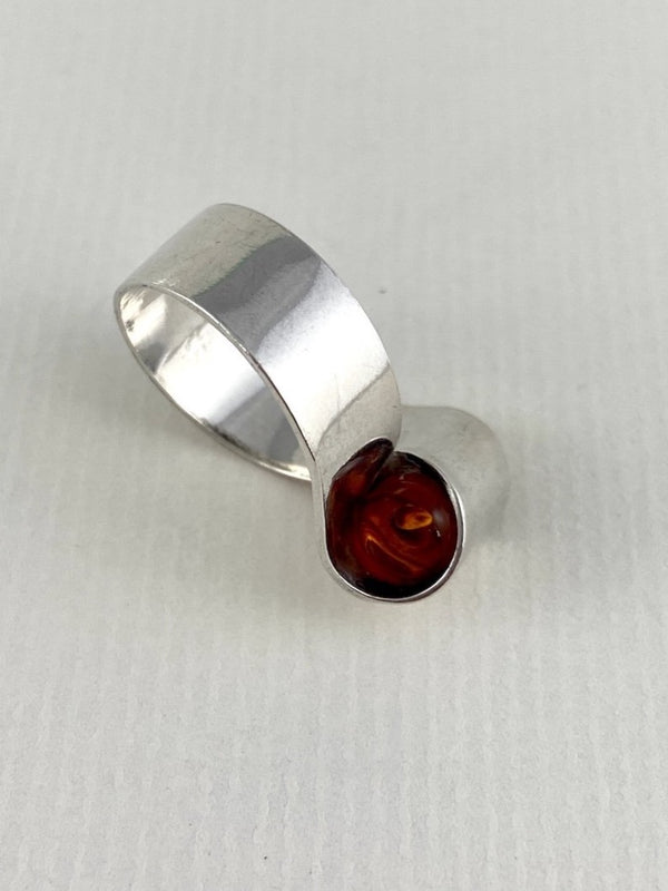 No. 028 - Sterling Silver Amber Ring
