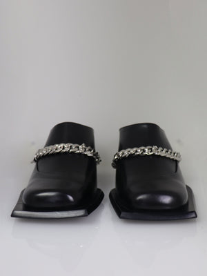 SUNNI SUNNI-Lonel Heeled Square Toe Mules with Chain-APOC STORE
