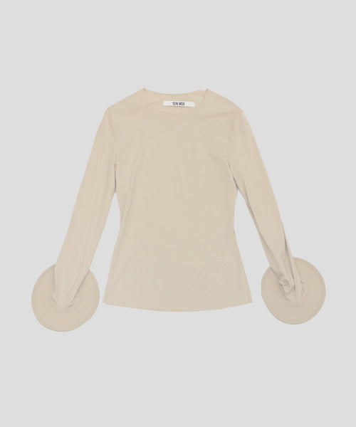 Beige Fitted Top with Wired Cuffs