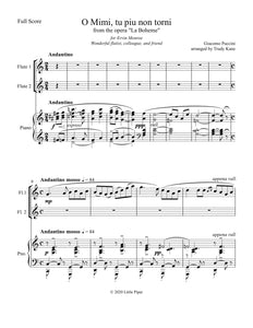 La Boheme for 2 Flutes and Piano