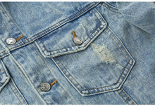Load image into Gallery viewer, Ripped Cartoon Denim Jacket