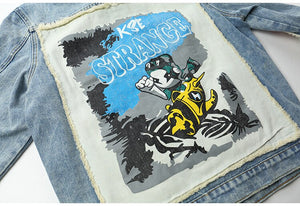 Ripped Cartoon Denim Jacket