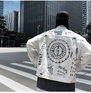 Letter pattern printed white Denim Jacket