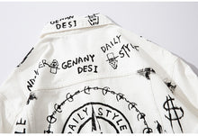Load image into Gallery viewer, Letter pattern printed white Denim Jacket