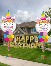 "Load image into Gallery viewer, Magical Unicorn with ""Happy Birthday"" - 2 Yard Balloon Art Displays"