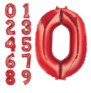 "34"" Red Number Balloons"