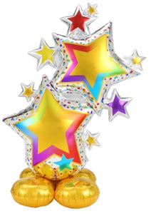 "59"" AirLoonz Silver & Rainbow Star Cluster Balloon"