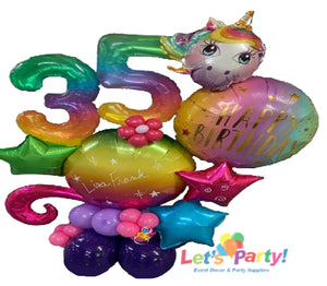 Rainbows Unicorn Happy Birthday - Mini Balloon Marquee