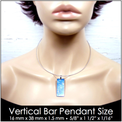 Vertical bar pendant size on model.