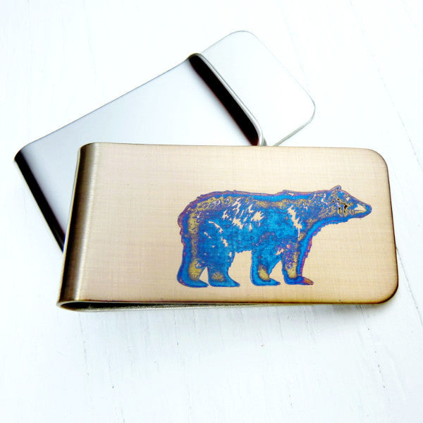 Bear Money Clip.  Gold with Blue Bear. Stainless Steel.