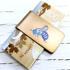 Flying BEE Money Clip.  Gold Money Clip. Blue Bee.
