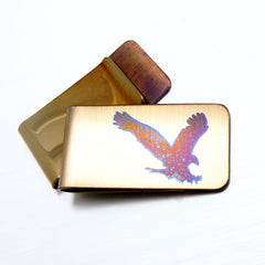 EAGLE hunting Money Clip in Gold. Front and back views.