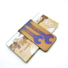 gold money clip with wrenches