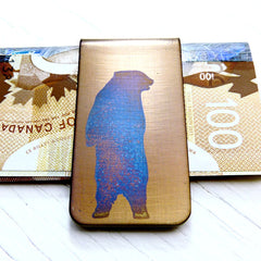 Standing Grizzly Bear Money Clip. Gold Clip Blue Bear.