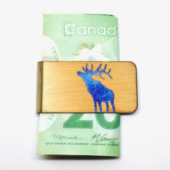 Bellowing Elk money clip. Gold Elk money clip.