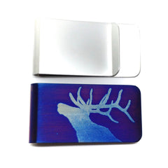 Bellowing Elk Money Clip. Front and back. Blue. Wallet.