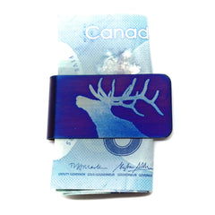 Blue Bellowing Elk Money Clip.