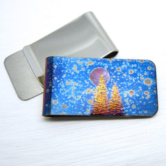 money clip - speckled blue with two trees and a full moon