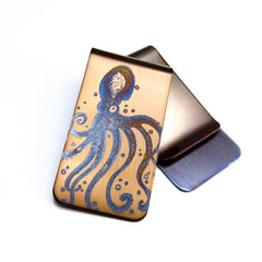 Octopus Money Clip. Gold with Blue Octopus. Front and Back.