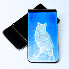 Blue money clip with great horned owl silhouette - front and back.