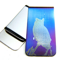 Great Horned Owl Money Clip in Blue.