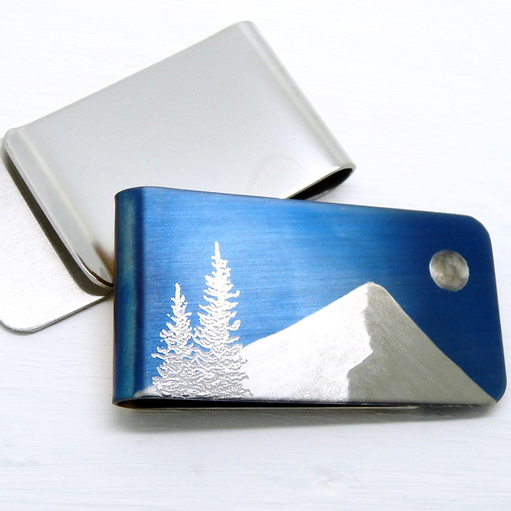 Evergreen Trees, Mountain and Full Moon on a Blue Money Clip.