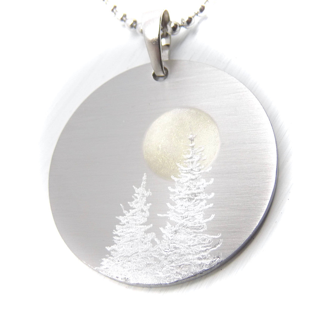 Silver tree necklace. Round necklace. Full moon necklace.