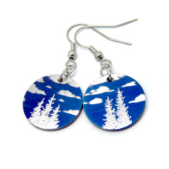 Blue sky earrings with white clouds and silver trees.