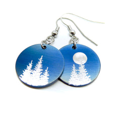 Round blue earrings with silver trees and sun