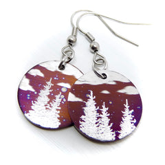 Forest landscape earrings. Clouds and trees.