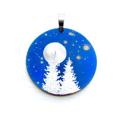 Blue pendant with Silver Trees and a Full Moon.