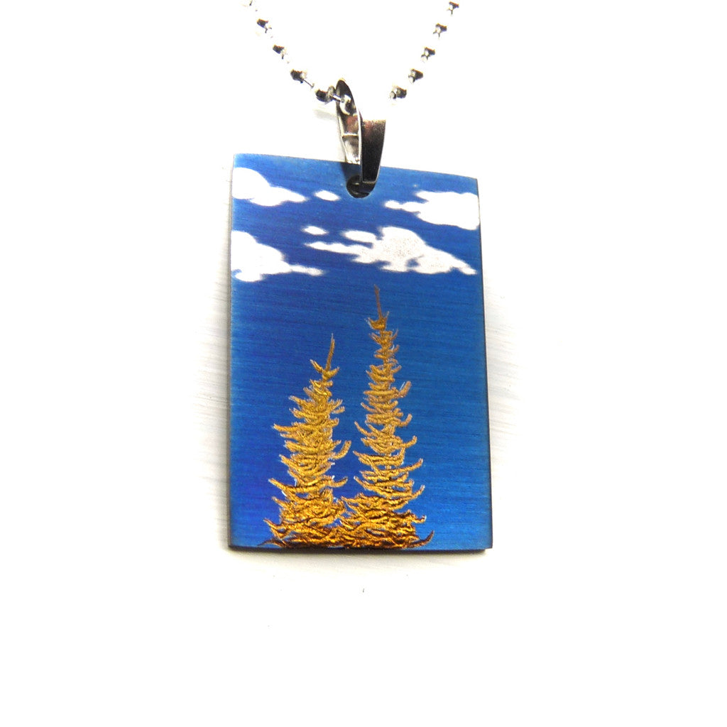 Blue sky,clouds and golden trees rectangle necklace.