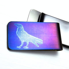 Standing Raven Money Clip in Blues.