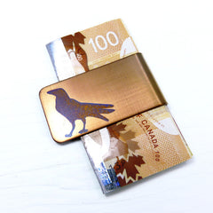 Standing Raven Money Clip.  Gold Money Clip with Blue Raven.