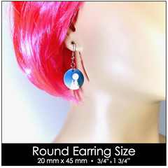 Round earring size shown on model for reference.