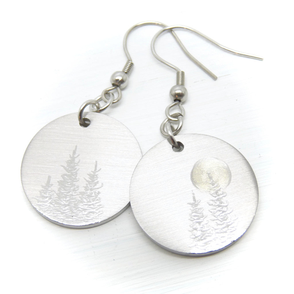 Round earrings. Forest woodland earrings. Tree earrings.