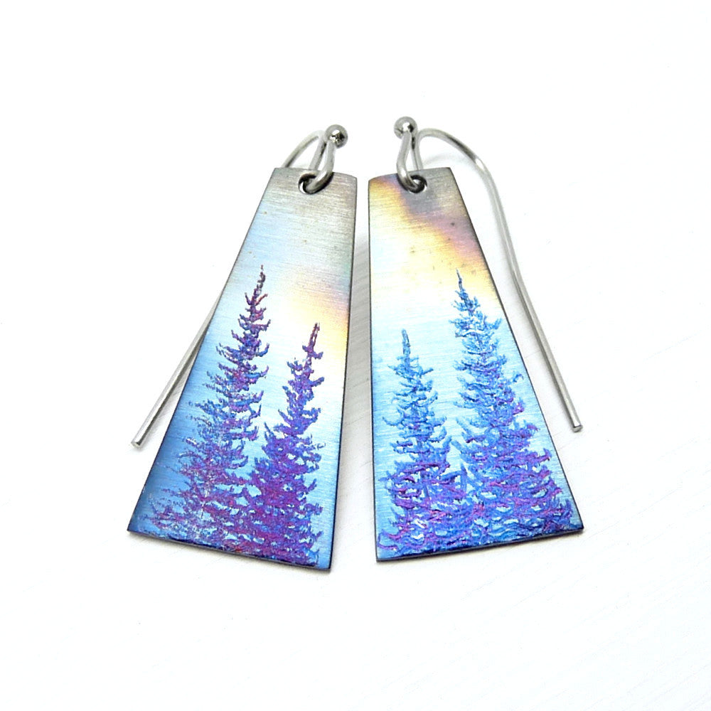 Stormy tree earrings. Long earrings with blue evergreen trees.