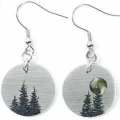 Tree earrings with full moon. Round earrings.