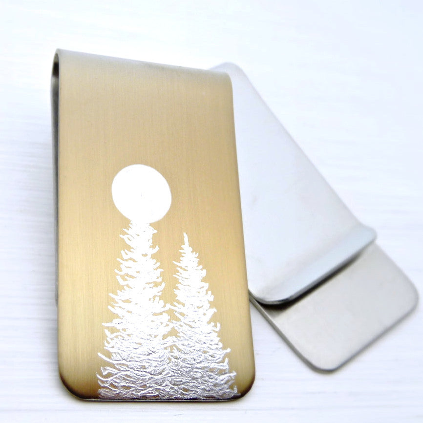 Gold money clip with silver trees and a full moon. Front and Back.