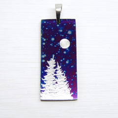 vertical bar necklace. starry sky. silver trees. moon.