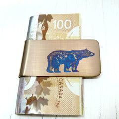 Blue Bear on Gold Money Clip.