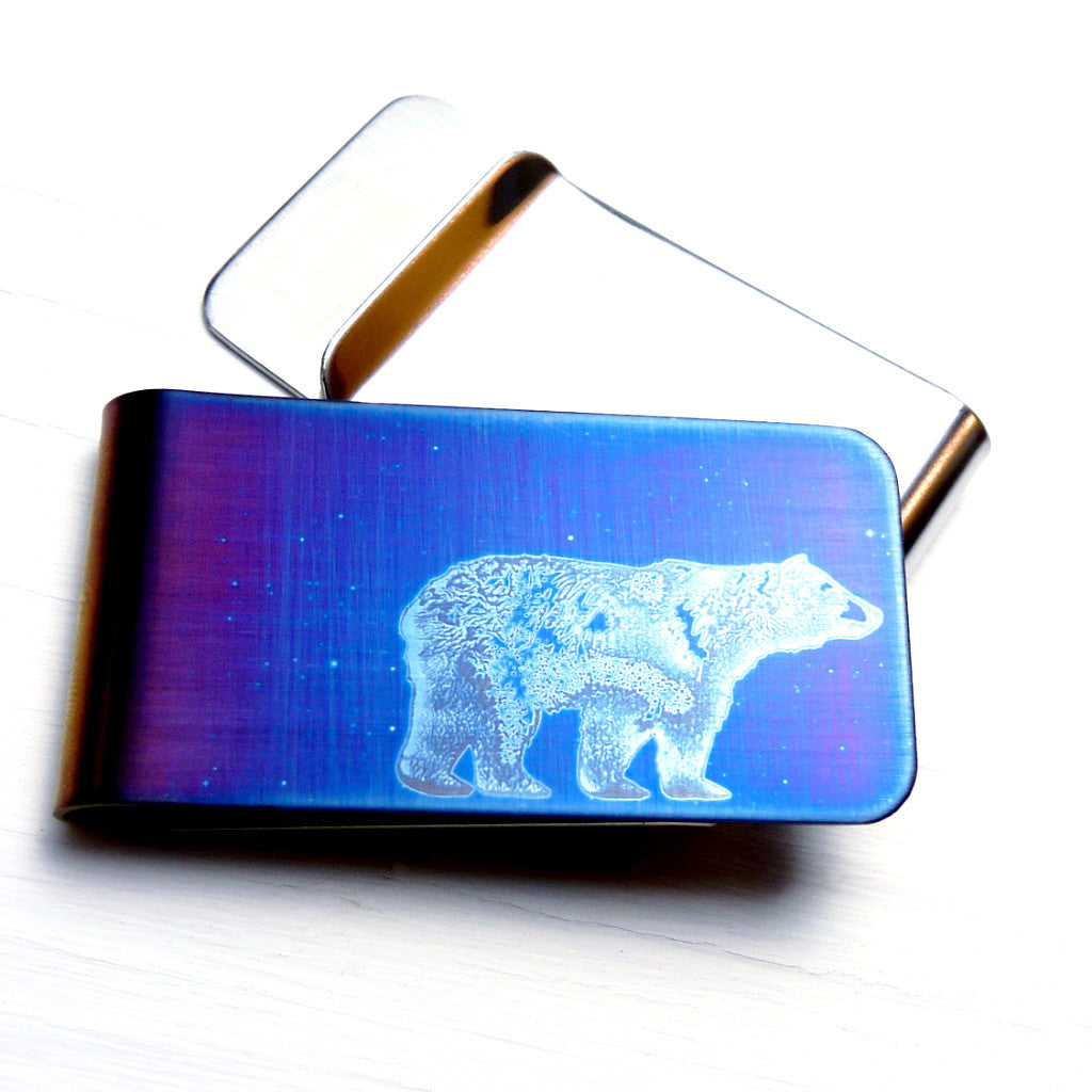 Blue walking bear money clip-front and back view.