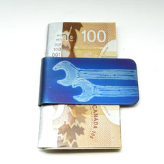Money clip with two wrenches.