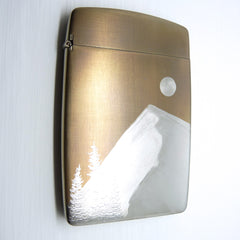mountain landscape engraved cigarette case wallet gold