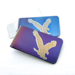 Hunting eagle money clips. Blue and Violet examples.