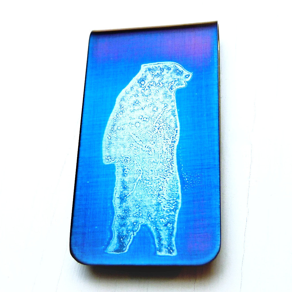 Standing Grizzly Bear Money Clip. BLUE.