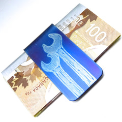 Blue money clip with wrench design.