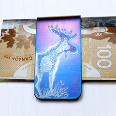 BLUE STANDING MOOSE Money Clip