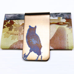 Gold Money Clip with Great Horned Owl Silhouette in Blue.