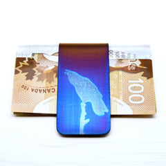 Blue Raven Calling Money Clip with Money.